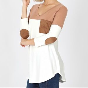 Tan and white elbow patch top